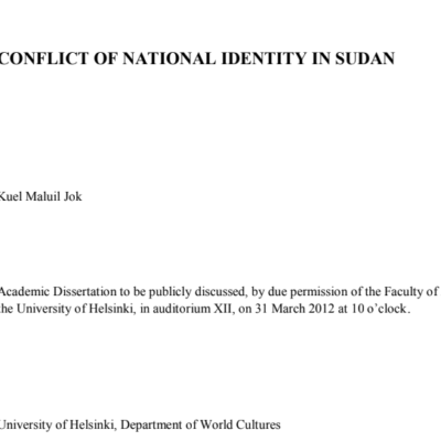 conflict of national identity in sudan